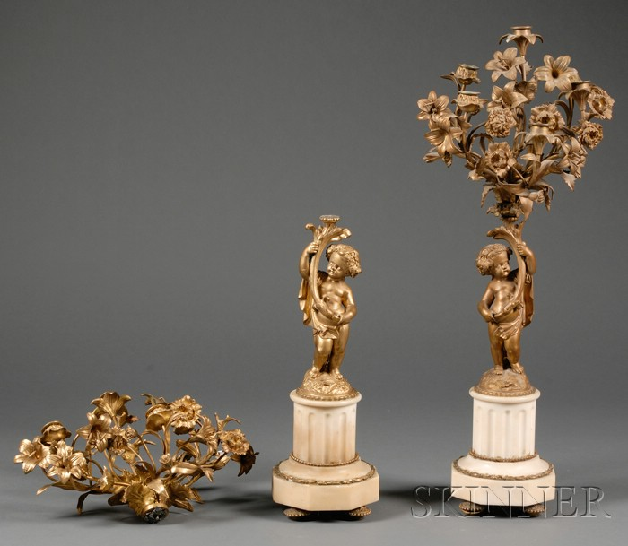 Pair of Victorian Classical Revival Gilt-metal and Marble Candelabra