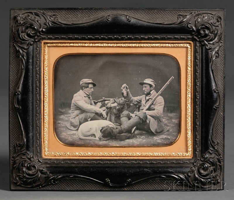 Half Plate Daguerreotype Portrait of Two Hunters with Game and Sleeping Dog