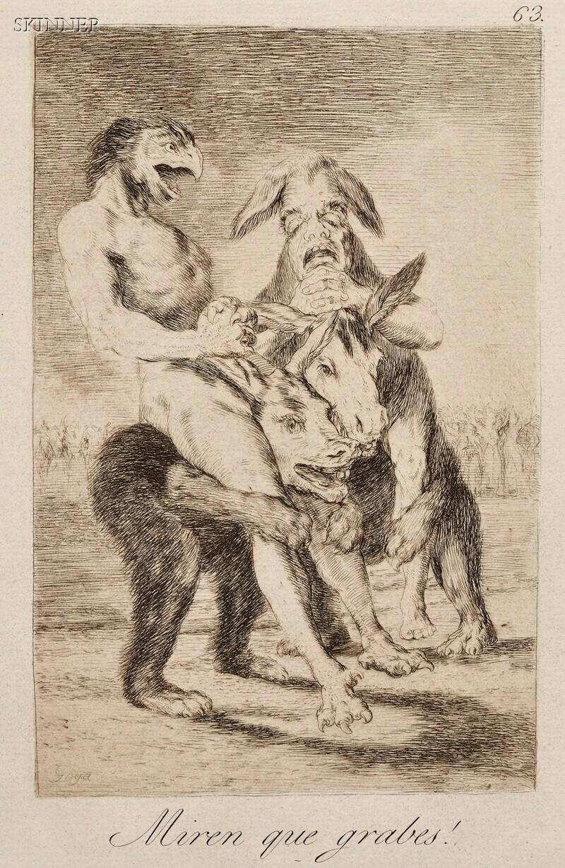 Francisco de Goya (Spanish, 1746-1828)      Two Plates from LOS CAPRICHOS: