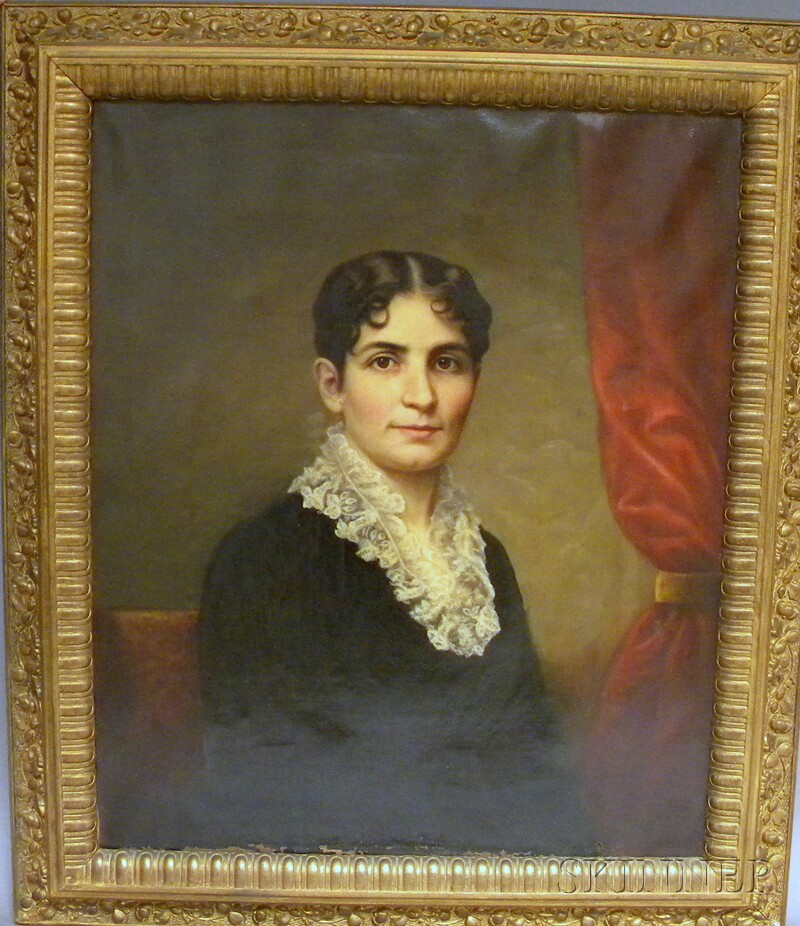19th Century American School Oil on Canvas Portrait of Mrs. Underfell of New York   City
