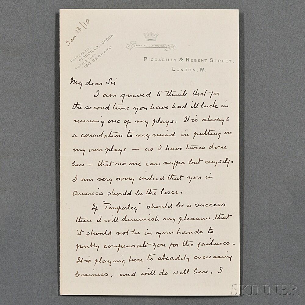 Doyle, Sir Arthur Conan (1859-1930) Autograph Letter Signed, London, 18 January 1910.