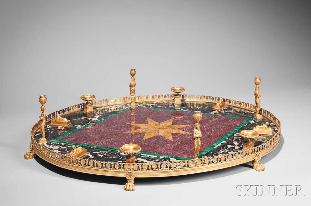 Empire-style Gilt-bronze and Marble Surtout de Table