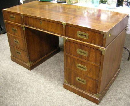 Henredon Campaign-style Brass Mounted Mahogany Veneer Flat-top Double-Pedestal Desk.