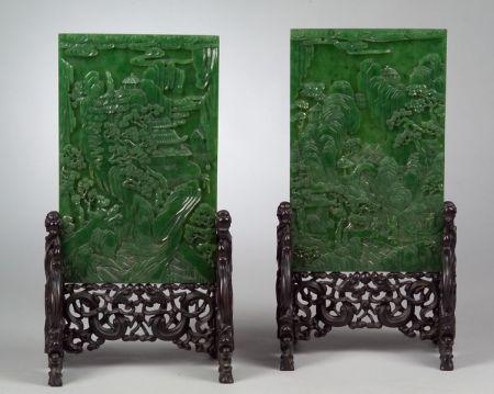 Pair of Jade Table Screens