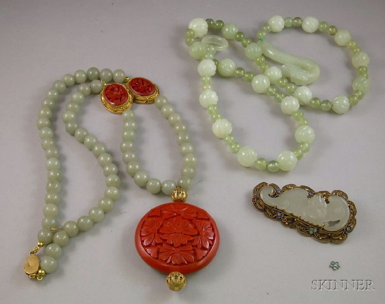 Carved Jade and Quartz Beaded Necklace, Coromandel and Jade Beaded Necklace, and a Gilt Silver, Enamel, and Car...