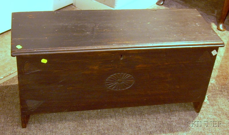 Diminutive Carved Pine Blanket Box.