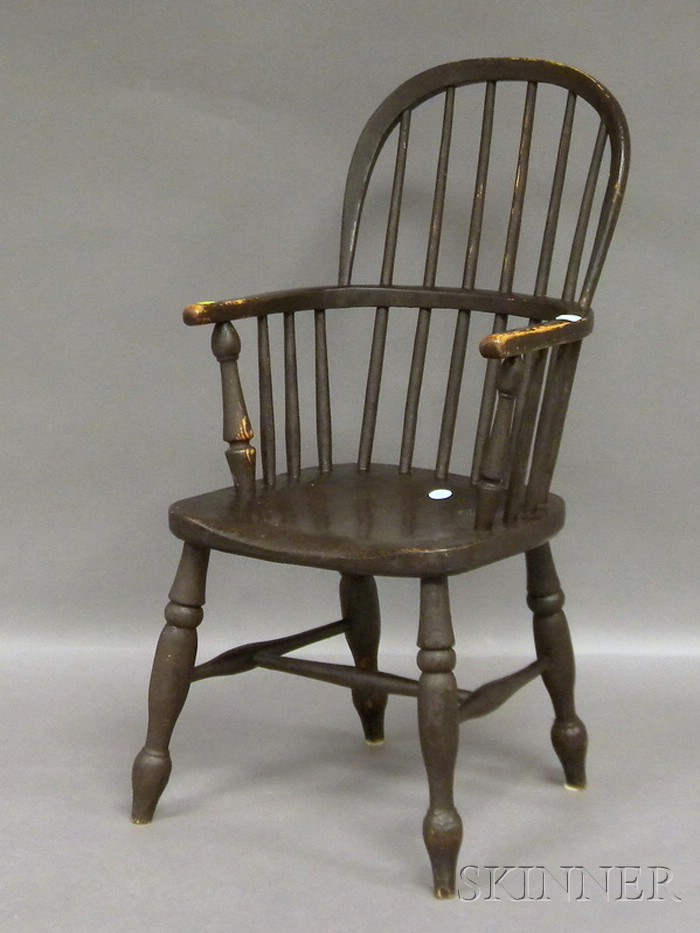 English Youths Windsor Stained Elmwood Armchair.