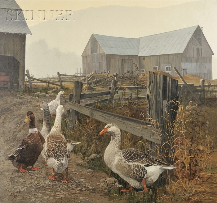 Eleanor (Ely) Kish (Canadian, b. 1924)      Ducks and Geese in a Farmyard
