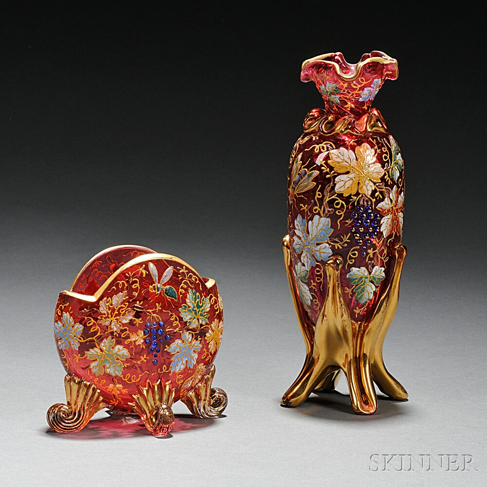 Two Moser-type Gilded and Enameled Cranberry Glass Vases