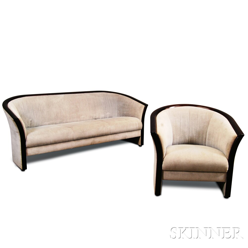 art deco style upholstered walnut sofa and barrel back club chair sale number 2881t lot. Black Bedroom Furniture Sets. Home Design Ideas