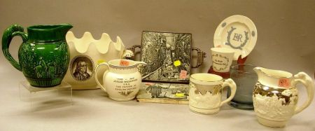 Eight Modern Wedgwood Table Items and Two Transfer Decorated Tiles.