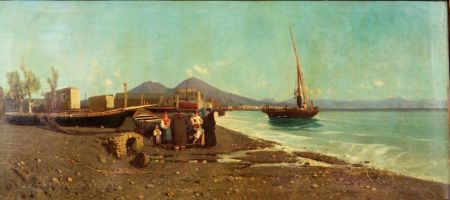 Giuseppe Laezza (Italian, d. 1905)    Safe Passage/A Neapolitan Genre Scene