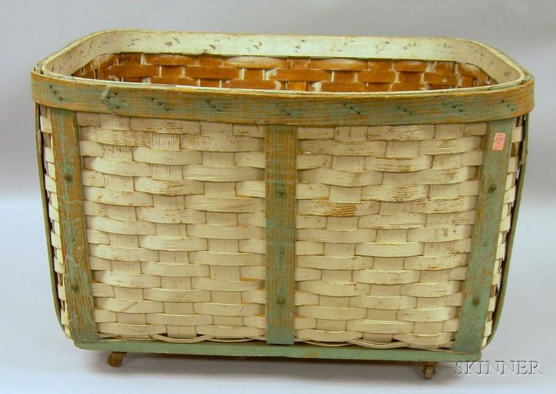 Large Painted Woven Splint Laundry Basket.