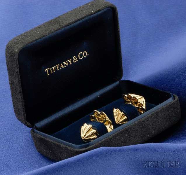 18kt Gold Cuff Links, Tiffany & Co., Schlumberger