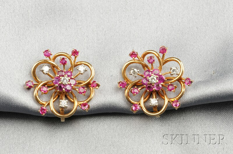 14kt Gold, Ruby, and Diamond Earclips, Trabert & Hoeffer Mauboussin