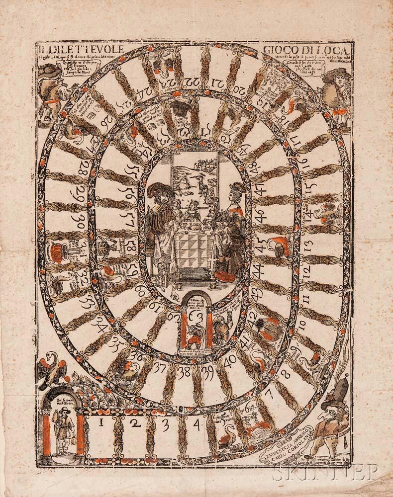 Carlo Coriolani, publisher (Italian, active Venice, c. 1640)      Il Dilettevole Gioco di Loca (The Delectable Game of the Goose)