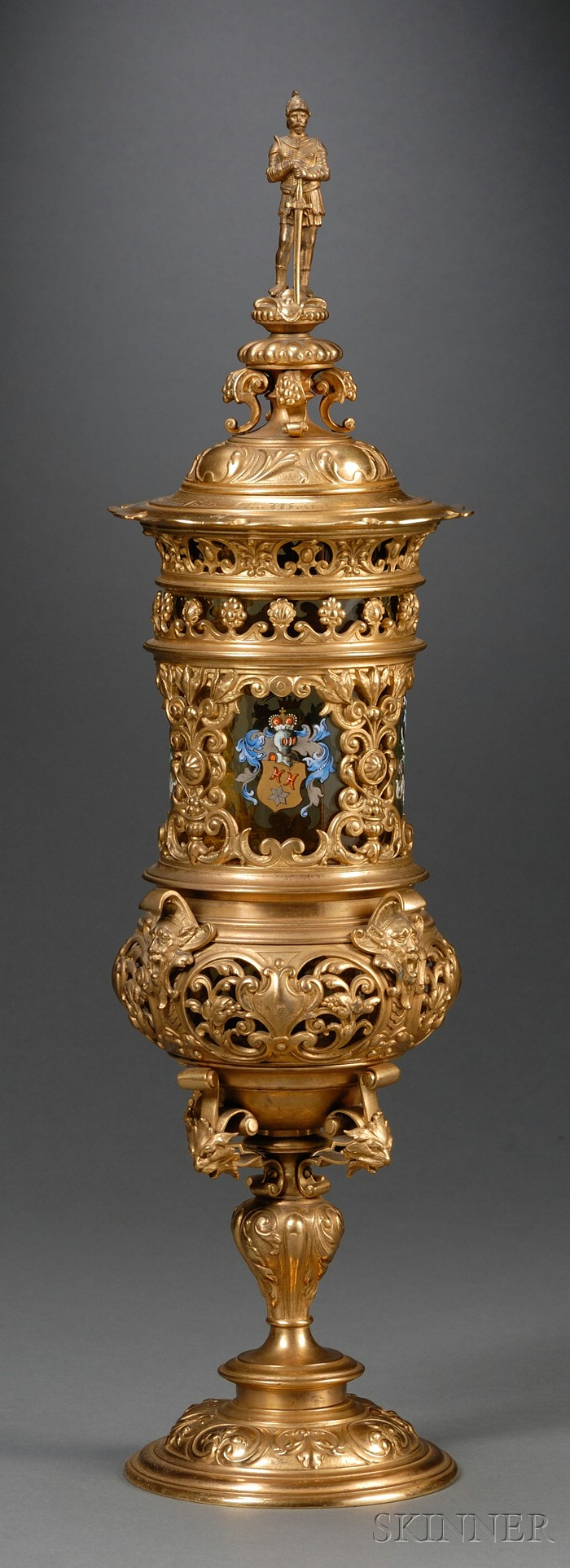 German Renaissance Revival Bronze and Glass Pokal