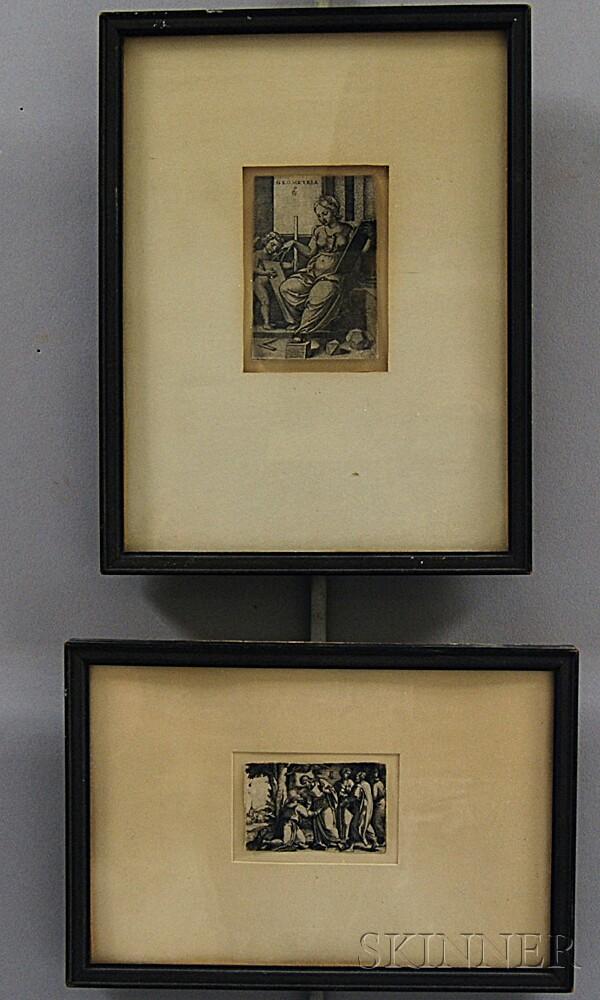 Georg Pencz (German, 1500-1550)      Two Framed Etchings: Geometria