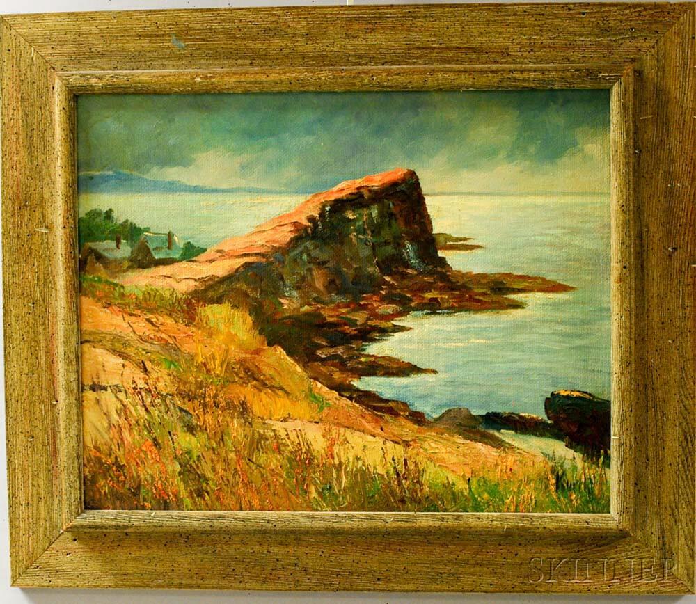 Otto Kurth (American, 1883-1965)      The Sea Wall at Lanesville, Cape Ann, Mass.