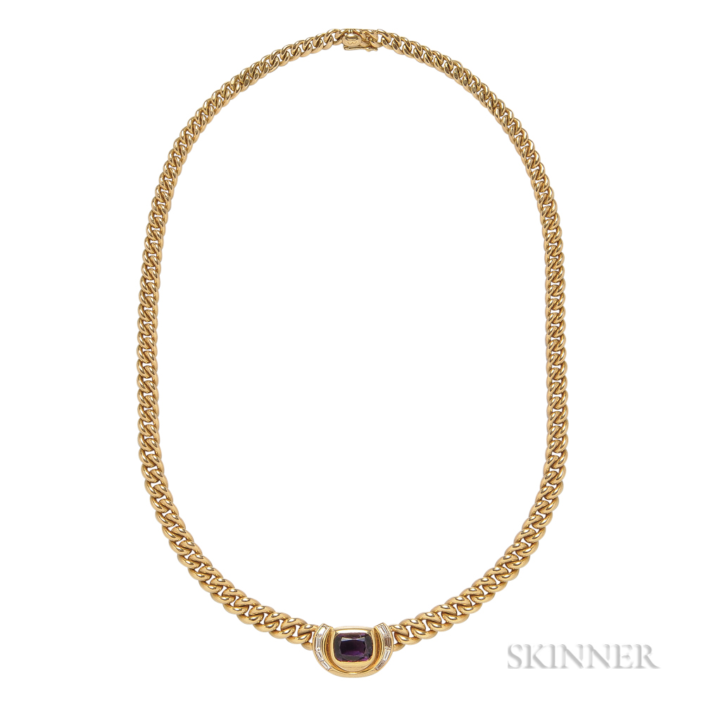 18kt Gold, Amethyst, and Diamond Necklace, Bulgari