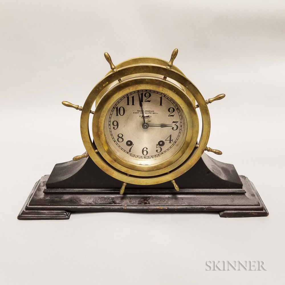 "Seth Thomas ""Mayflower"" Ship's Bell Mantel Clock"