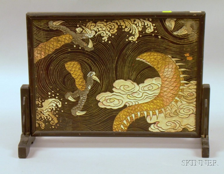 Small Asian Carved and Painted Wooden Table Screen