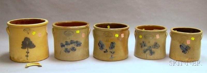 "Five ""Brown Brothers, Huntington, L.I."" Cobalt Decorated Stoneware Crocks"