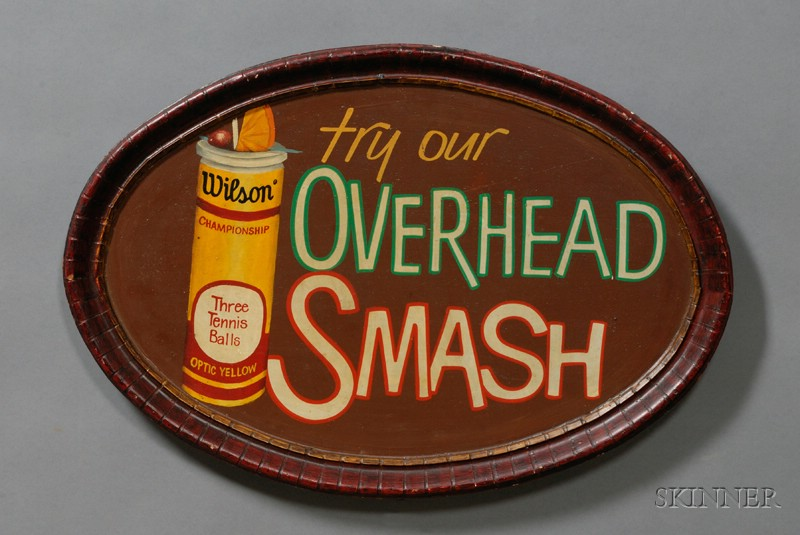 Polychrome Painted Oval Country Club Drink Sign