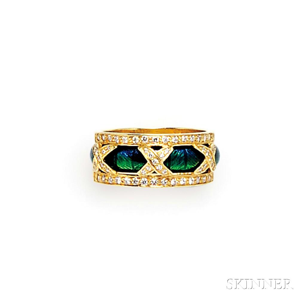 18kt Gold, Enamel, and Diamond Ring, Hidalgo