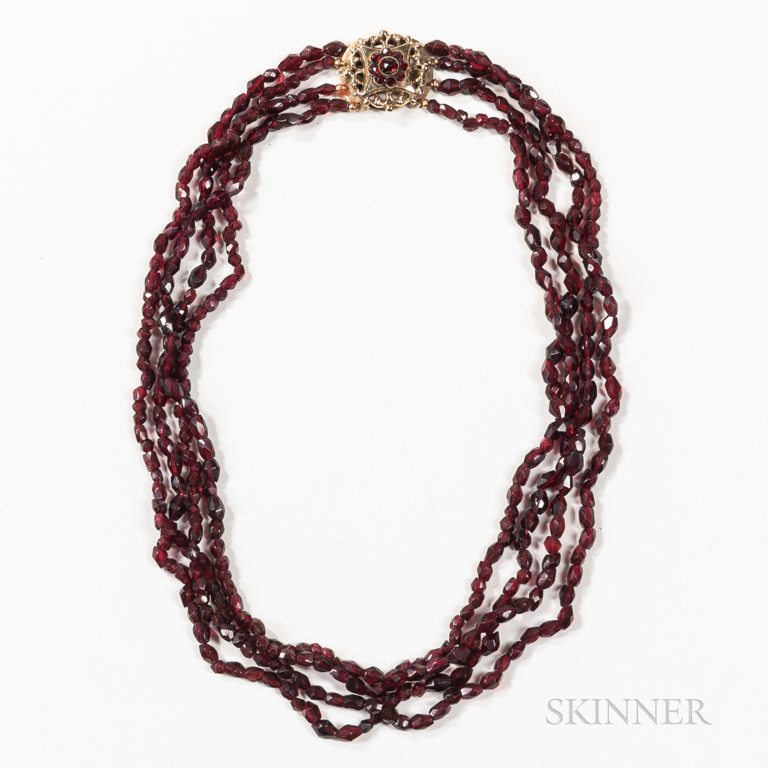 14kt Gold and Garnet Bead Necklace