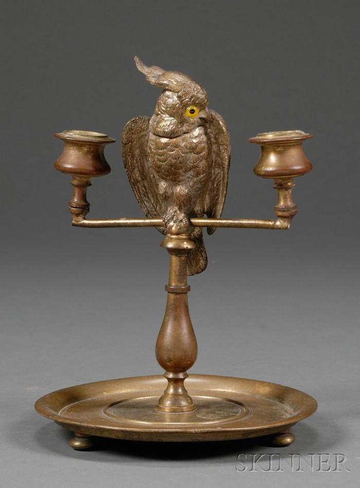 Viennese Bronze Figural Two-Light Desk Candlestand