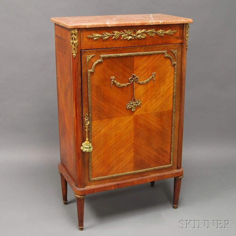 Louis XIV-style Kingwood Veneer Ormolu-mounted Marble-top Music Cabinet