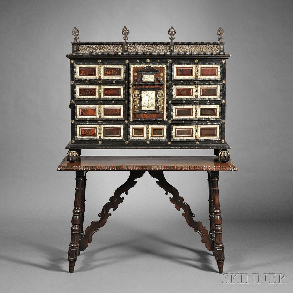 Flemish Baroque Part-ebonized and Shell-mounted Table Cabinet