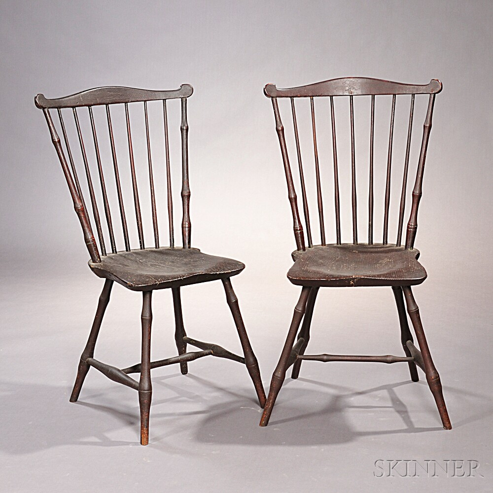 Bamboo Turned Chair: Pair Of Bamboo-turned Fan-back Windsor Chairs