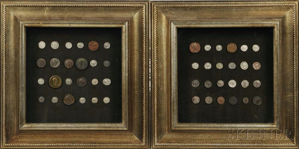Two Framed Groups of Ancient Roman Coins