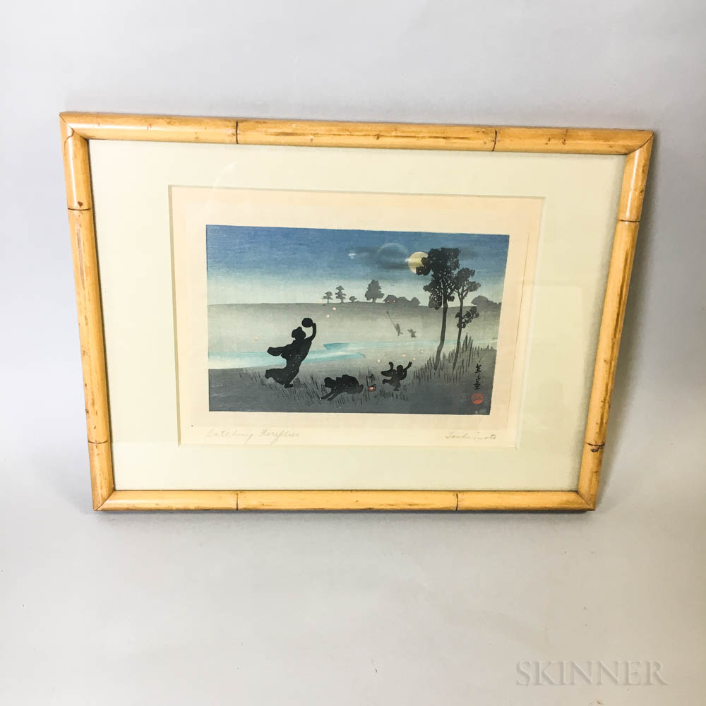 Framed Toshimoto Japanese Woodblock Print Catching Fireflies