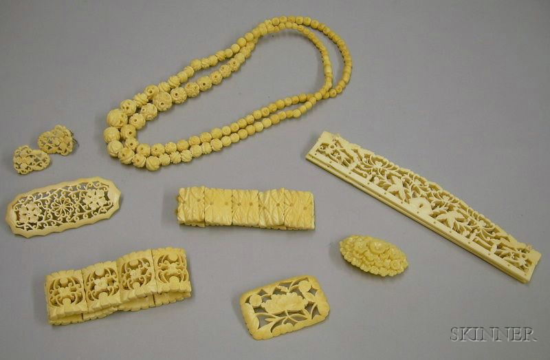 Group of Assorted Carved and Pierced Ivory and Ivorine Jewelry