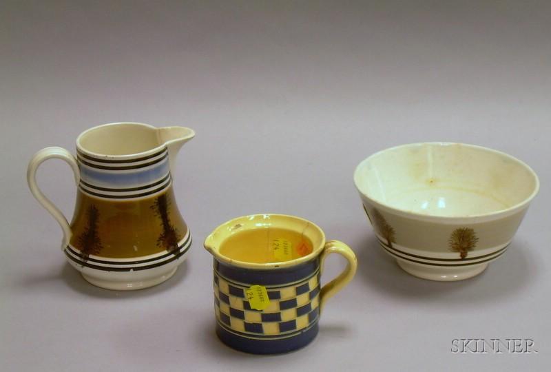 Mochaware Bowl, Jug, and Creamer