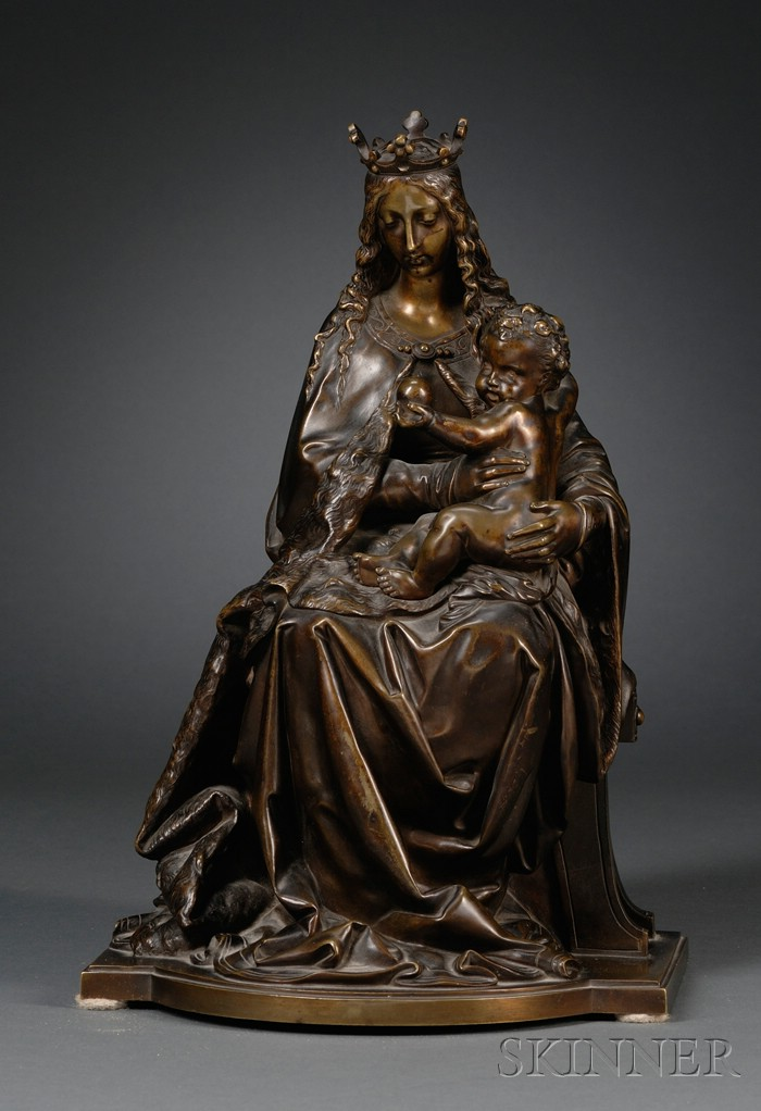 Continental Bronze Renaissance-style Figure of the Madonna and Child Enthroned