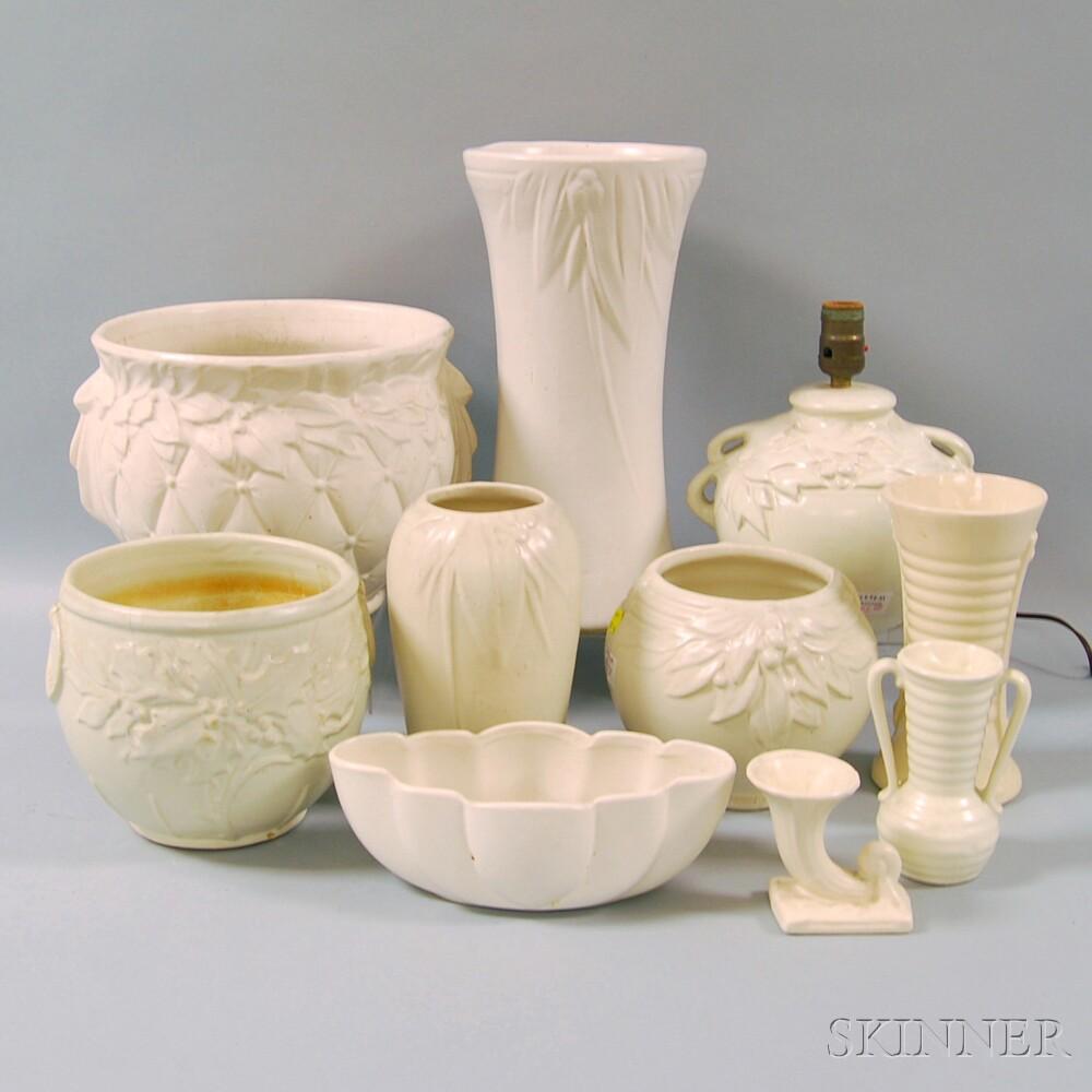 Ten White-glazed Molded American Art Pottery Items