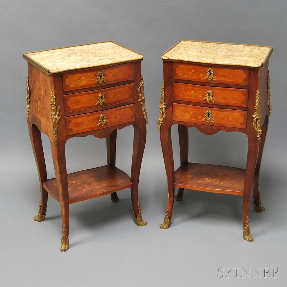 Pair of Louis XV-style Marquetry Marble-top Side Tables