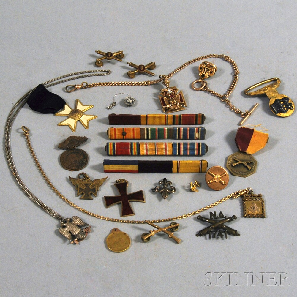Small Group of Military and Fraternal Pins and Ribbon Bars