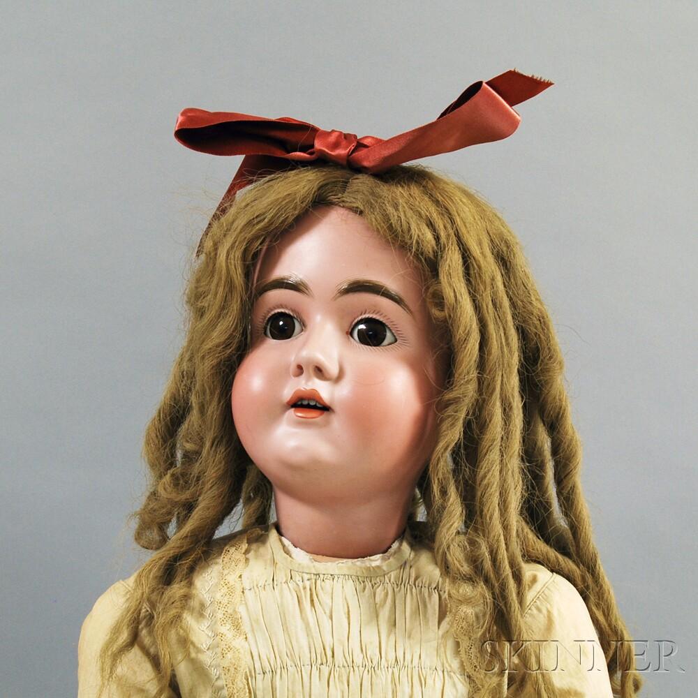 Large Kestner Bisque Head Girl Doll