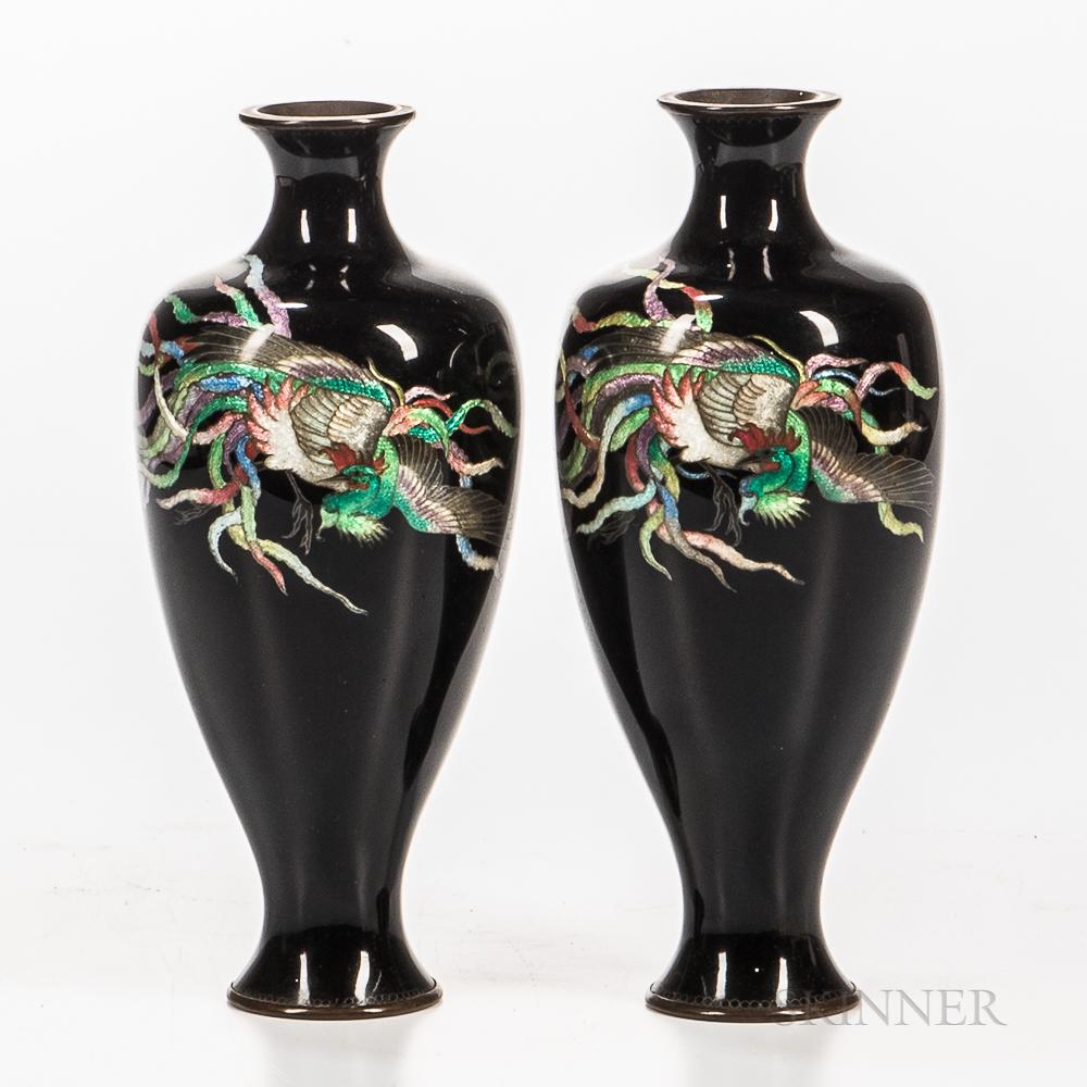 Pair of Ginbari Cloisonne Vases