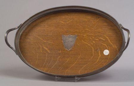 Edwardian Oak and Silver Plate Tray