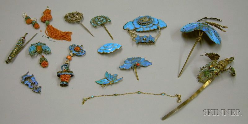 Large Selection of Chinese Kingfisher Feather and Coral Jewelry and Accessories