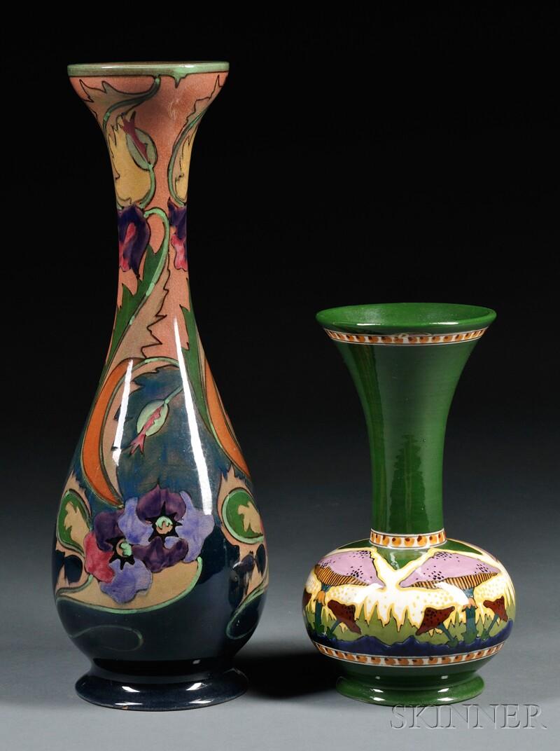 Two Gouda Pottery High Glaze Vases