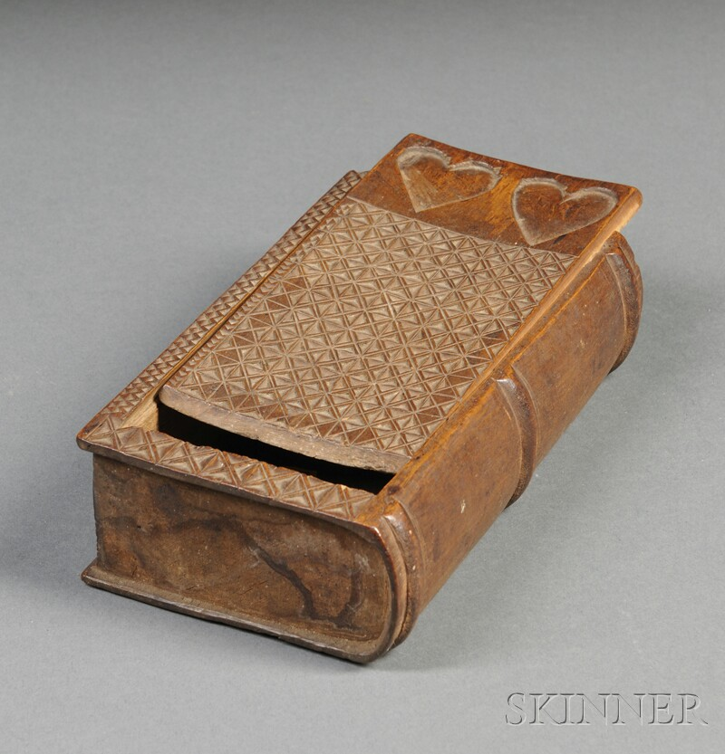 Chip-carved Wooden Book-form Slide-lid Box with Heart Decoration