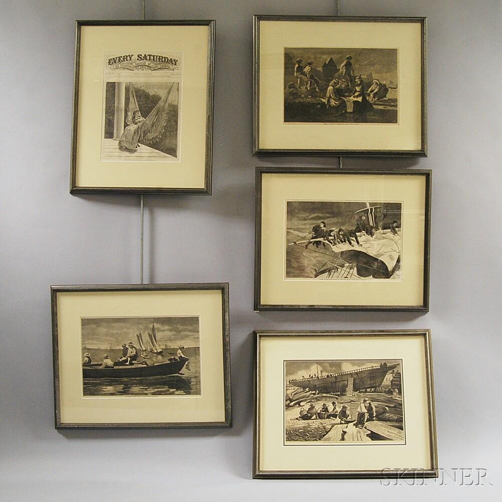 Five Framed Winslow Homer Engravings