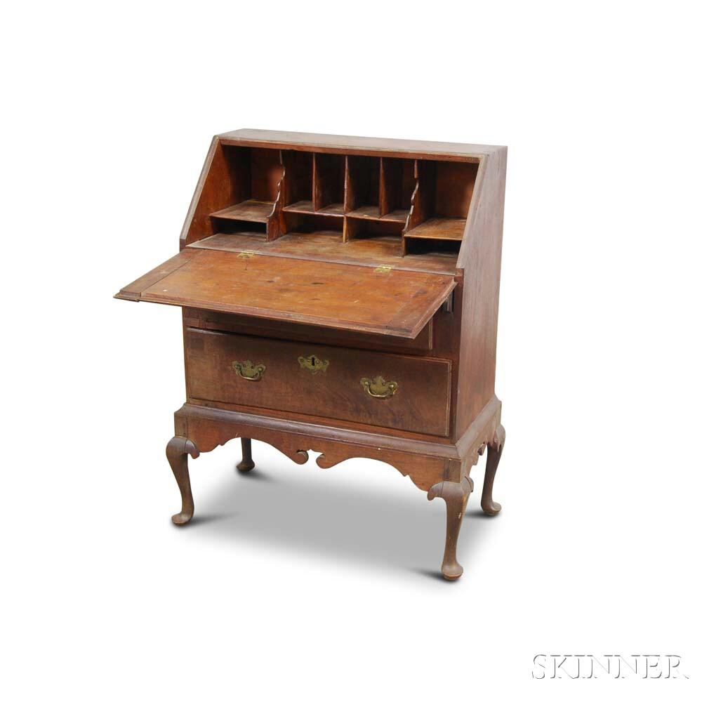Queen Anne-style Walnut Slant-lid Desk-on-frame
